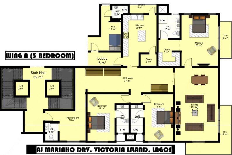 Wing A (3 Bedroom)